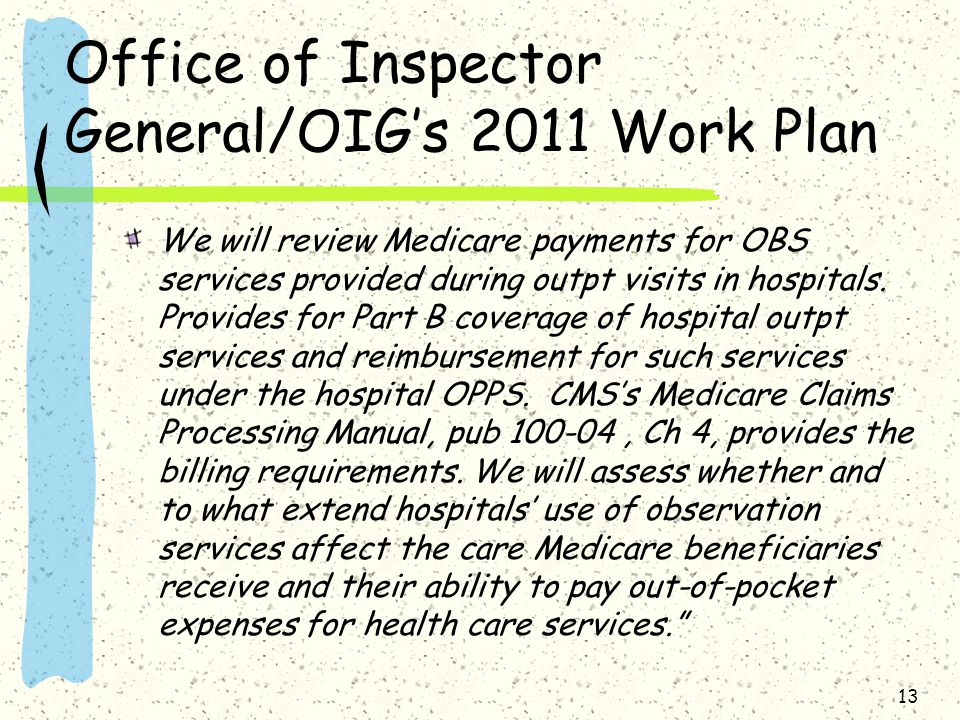 Office of Inspector General/OIG's 2011 Work Plan