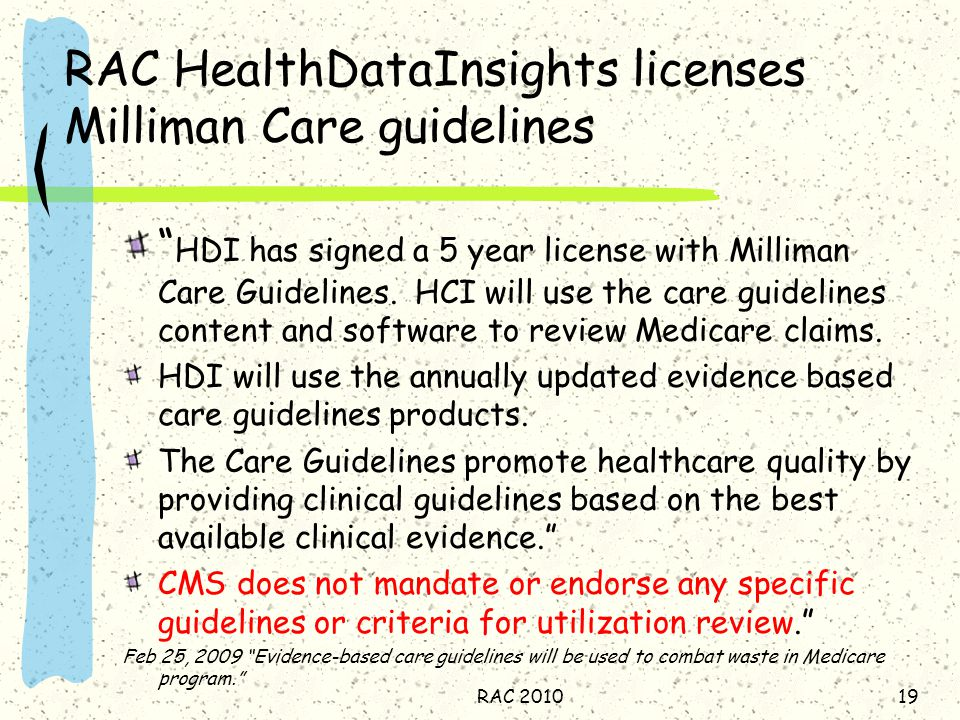 RAC HealthDataInsights licenses Milliman Care guidelines