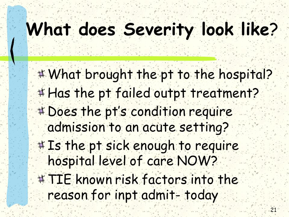 What does Severity look like