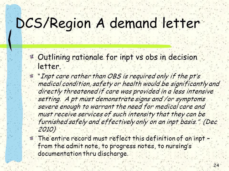 DCS/Region A demand letter