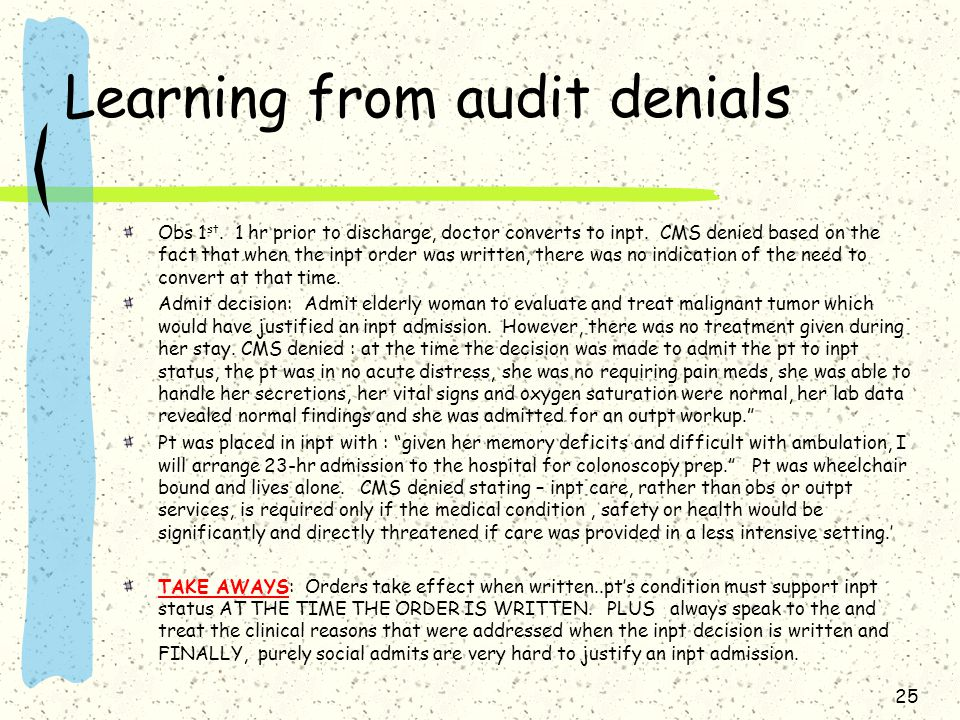 Learning from audit denials