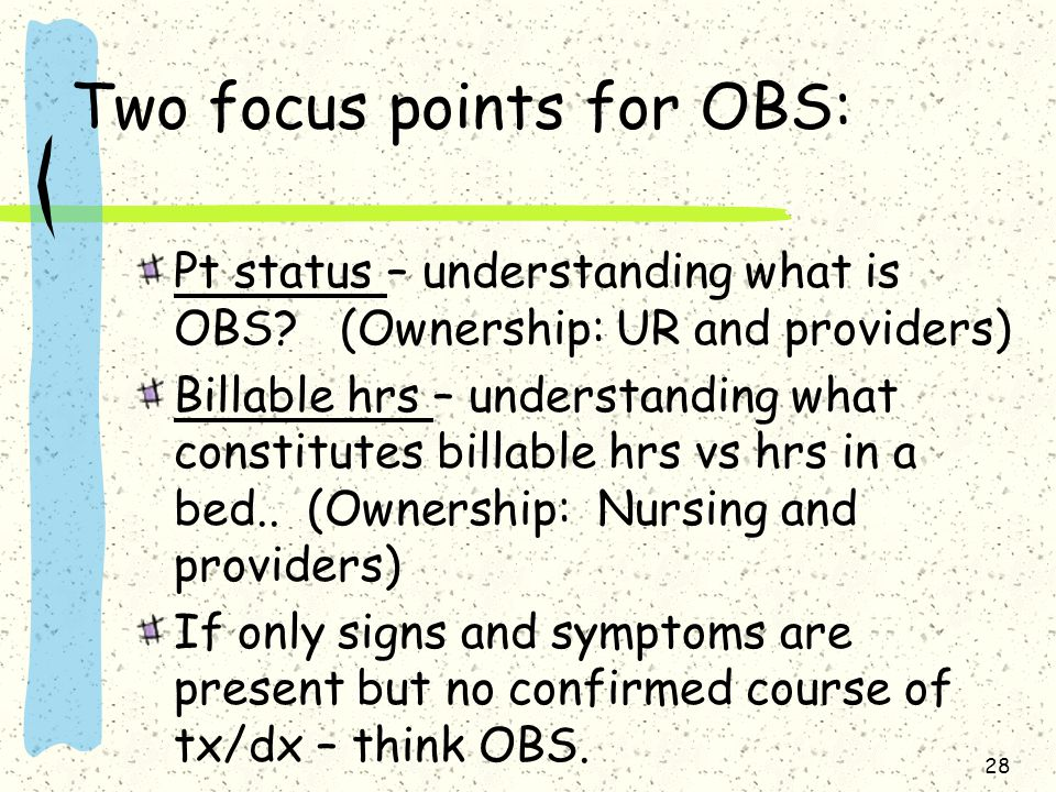 Two focus points for OBS: