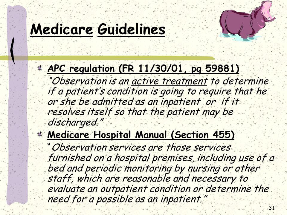 Medicare Guidelines APC regulation (FR 11/30/01, pg 59881)