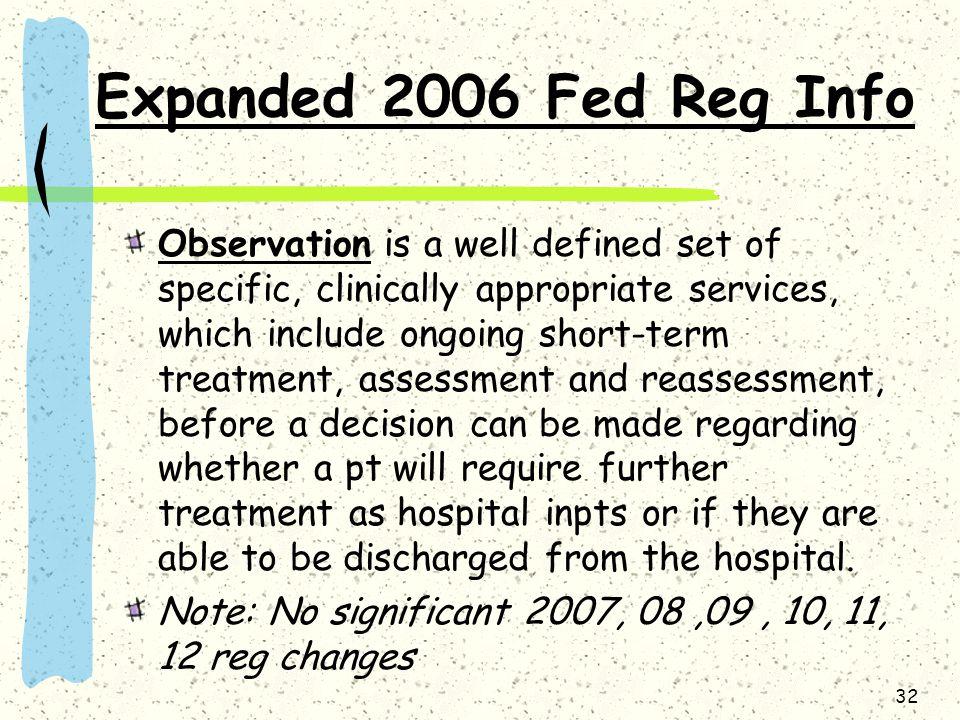 Expanded 2006 Fed Reg Info