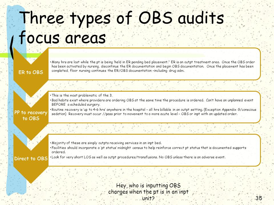 Three types of OBS audits focus areas