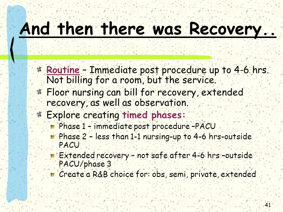 And then there was Recovery..
