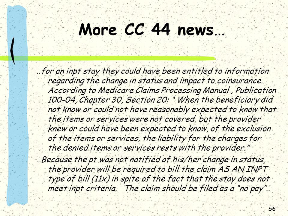 More CC 44 news…