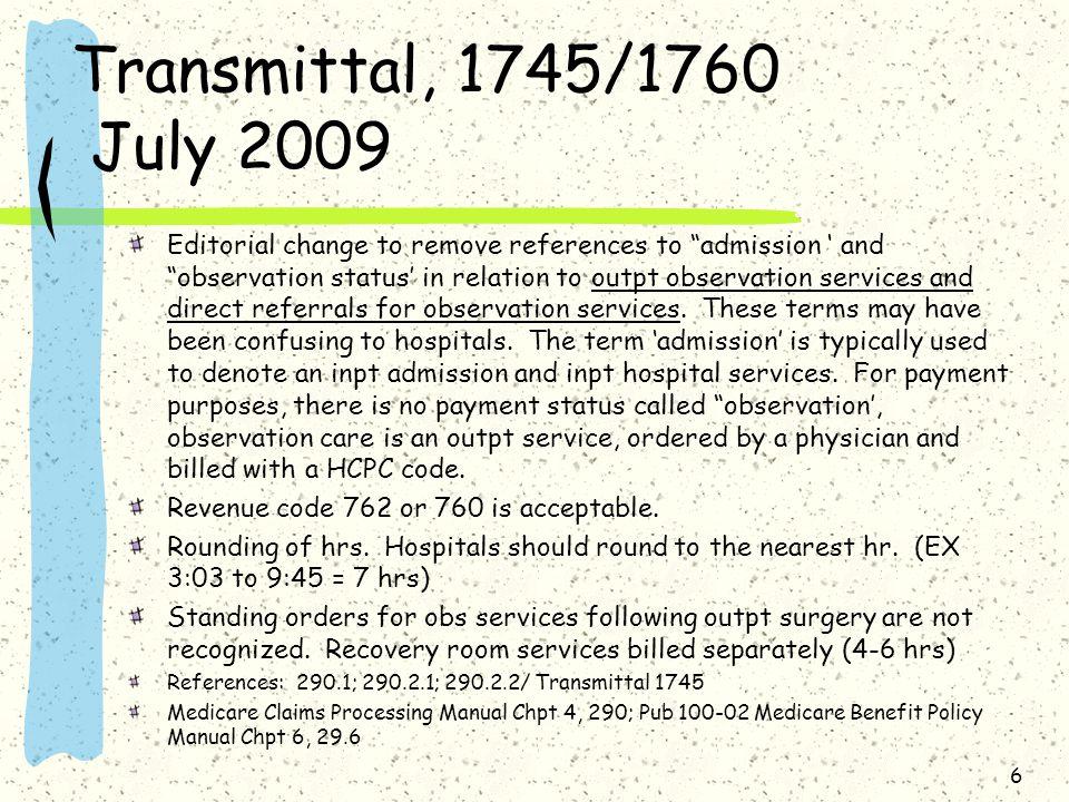 Transmittal, 1745/1760 July 2009