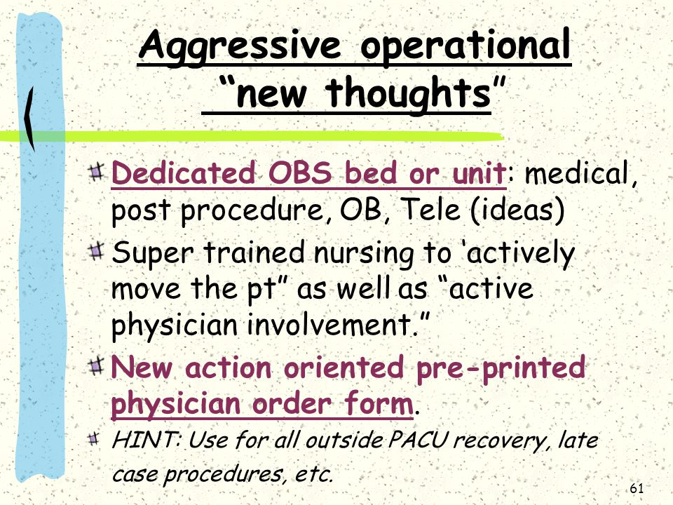 Aggressive operational new thoughts