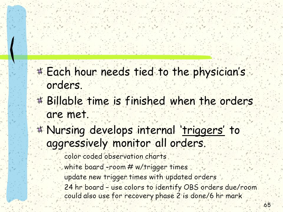Each hour needs tied to the physician's orders.
