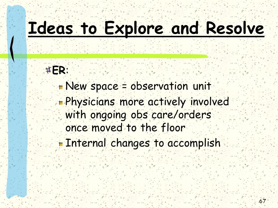 Ideas to Explore and Resolve