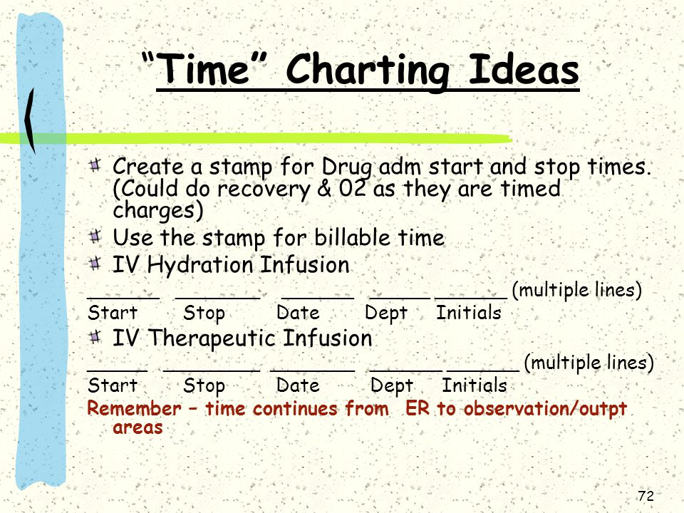 Time Charting Ideas Create a stamp for Drug adm start and stop times. (Could do recovery & 02 as they are timed charges)