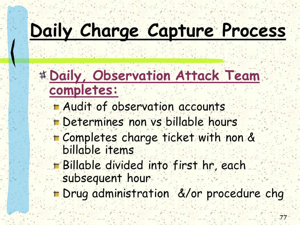 Daily Charge Capture Process