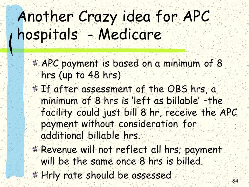 Another Crazy idea for APC hospitals - Medicare