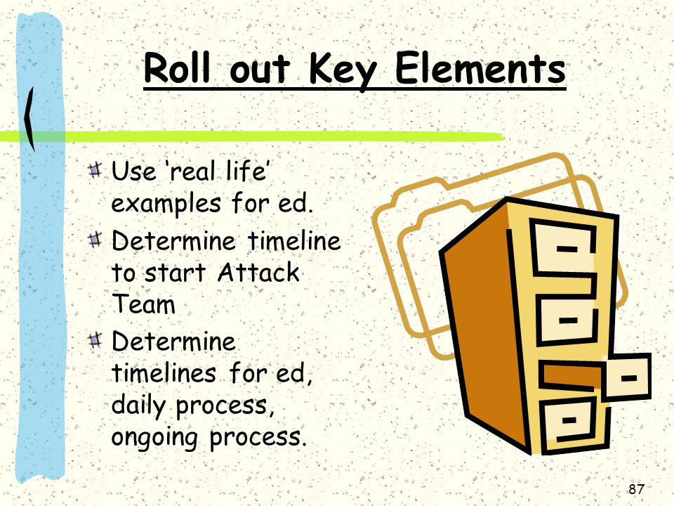 Roll out Key Elements Use 'real life' examples for ed.