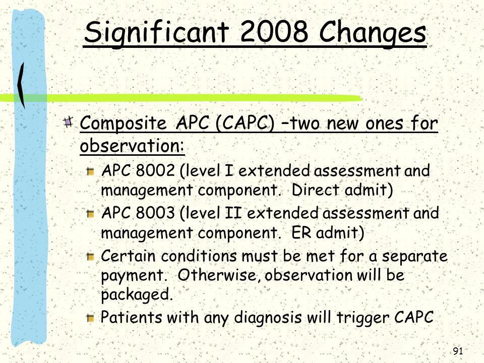 Significant 2008 Changes Composite APC (CAPC) –two new ones for observation: