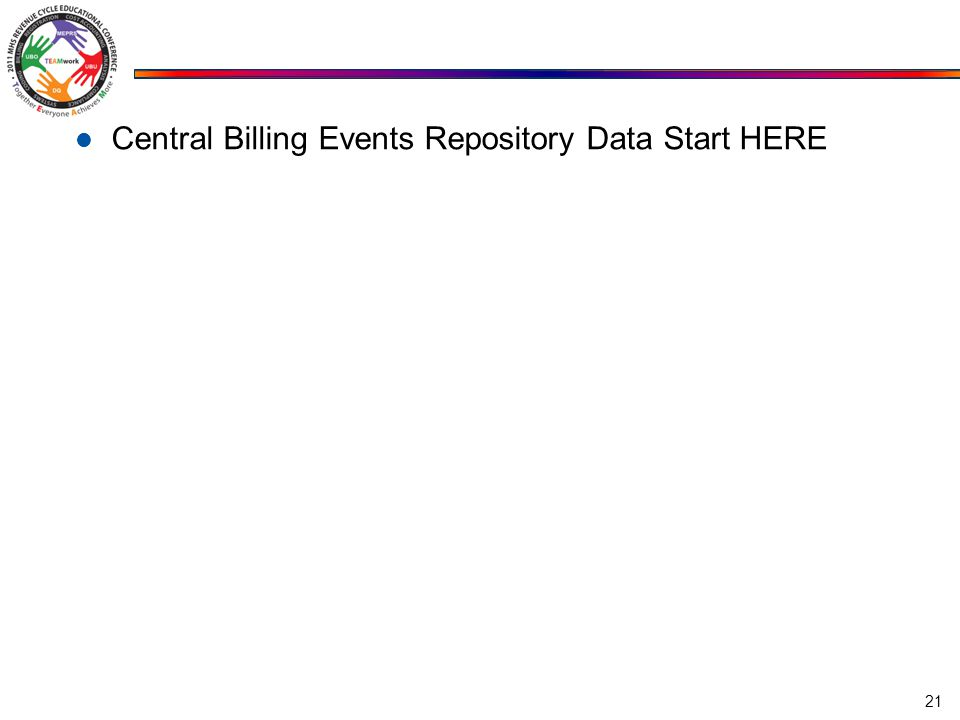 Central Billing Events Repository Data Start HERE