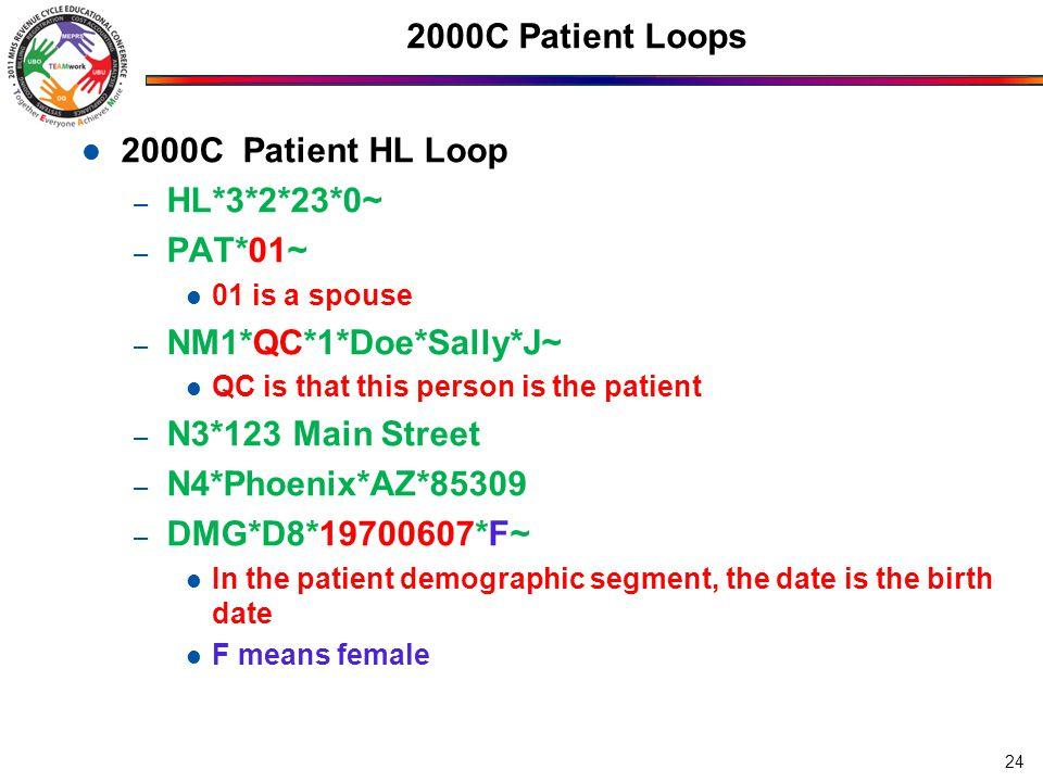 2000C Patient Loops 2000C Patient HL Loop HL*3*2*23*0~ PAT*01~