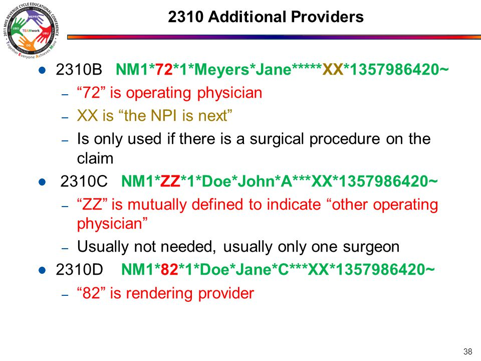 2310 Additional Providers 2310B NM1*72*1*Meyers*Jane*****XX*1357986420~ 72 is operating physician.