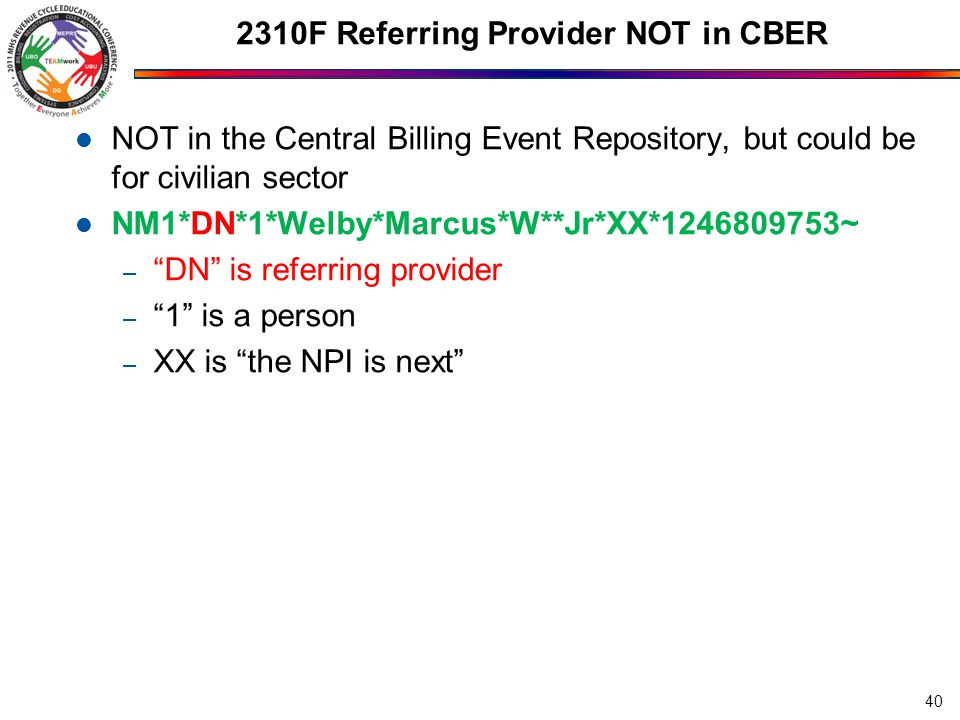 2310F Referring Provider NOT in CBER