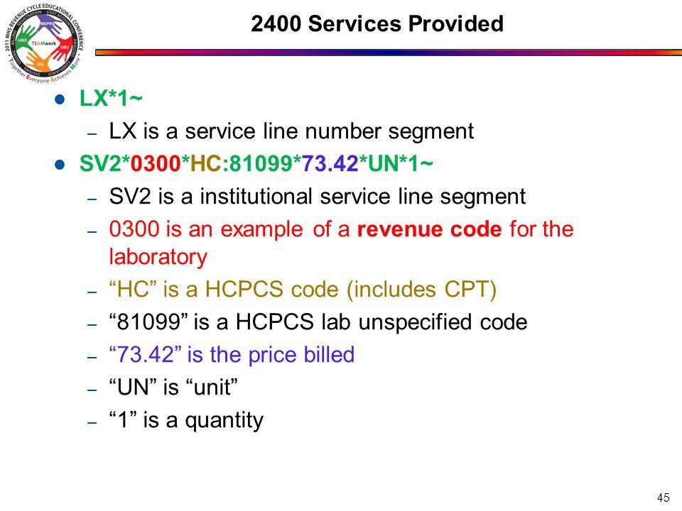 LX is a service line number segment SV2*0300*HC:81099*73.42*UN*1~