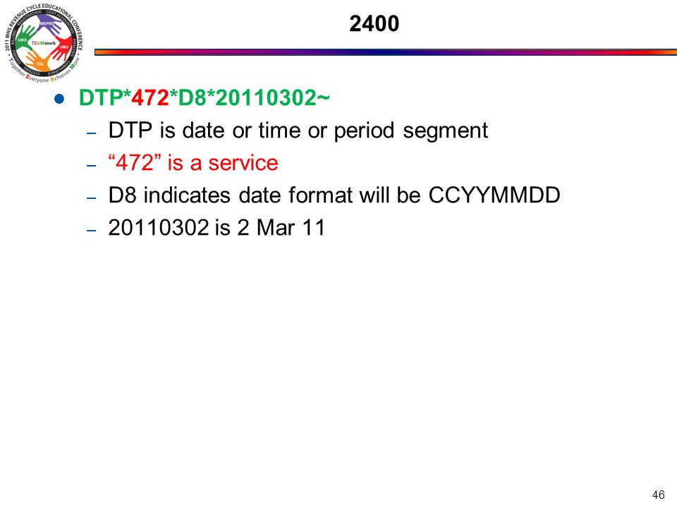 2400 DTP*472*D8*20110302~ DTP is date or time or period segment. 472 is a service. D8 indicates date format will be CCYYMMDD.