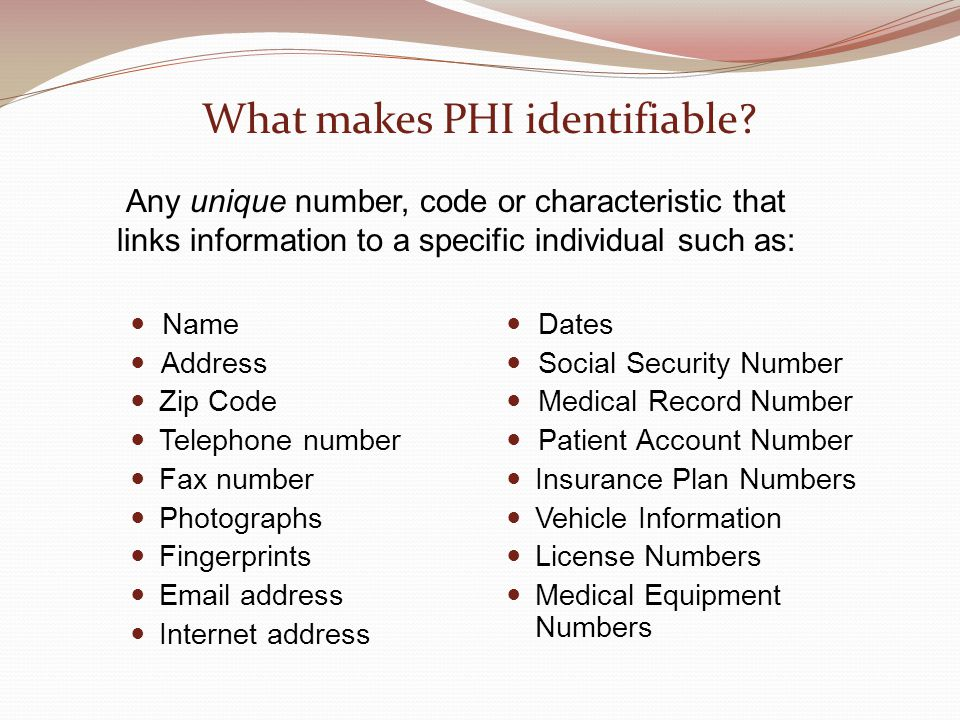 What makes PHI identifiable