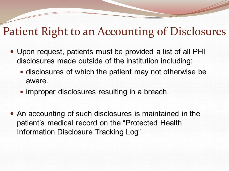 Patient Right to an Accounting of Disclosures