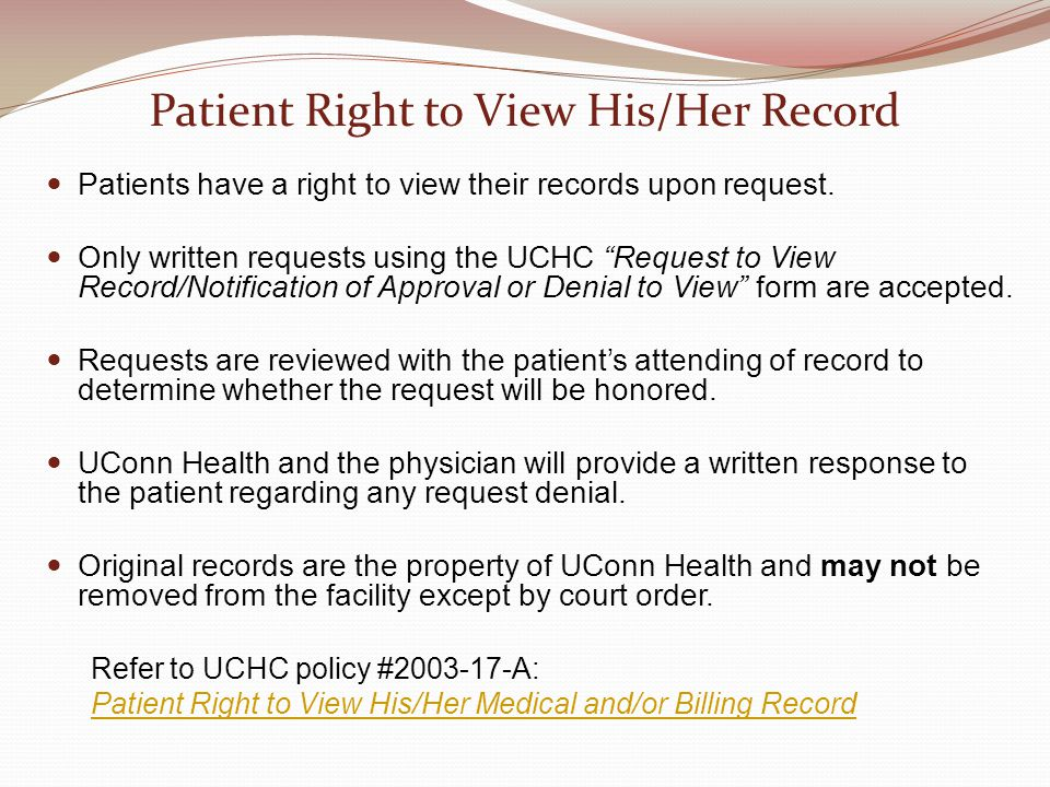 Patient Right to View His/Her Record