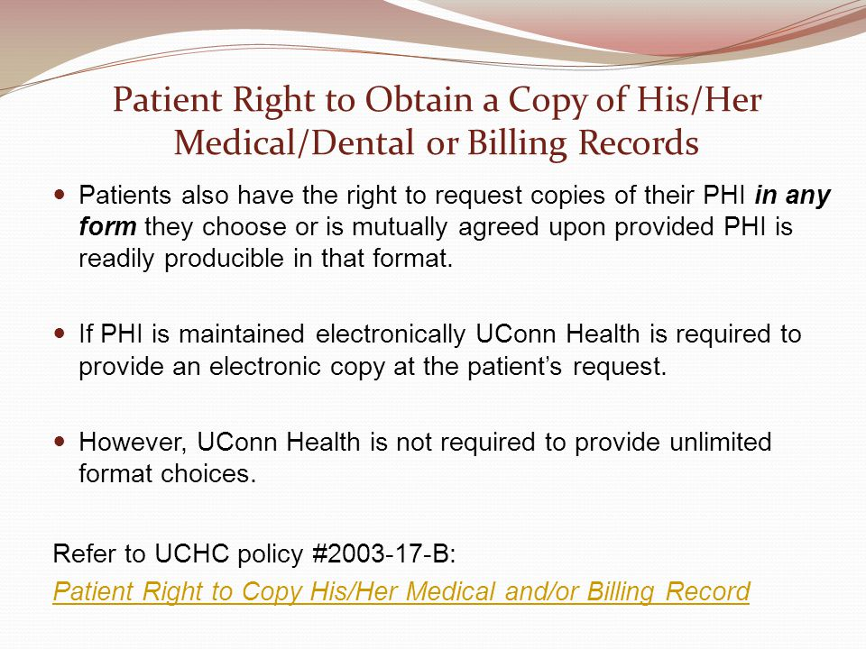 Patient Right to Obtain a Copy of His/Her Medical/Dental or Billing Records