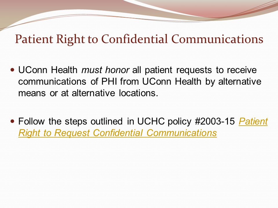 Patient Right to Confidential Communications