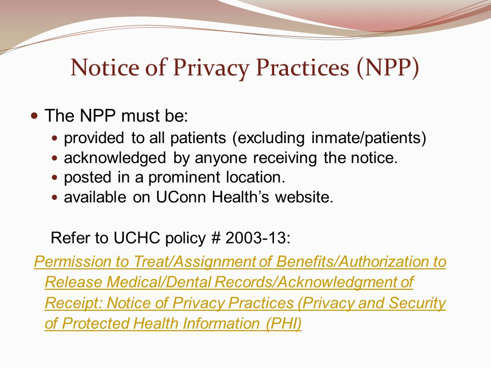 Notice of Privacy Practices (NPP)