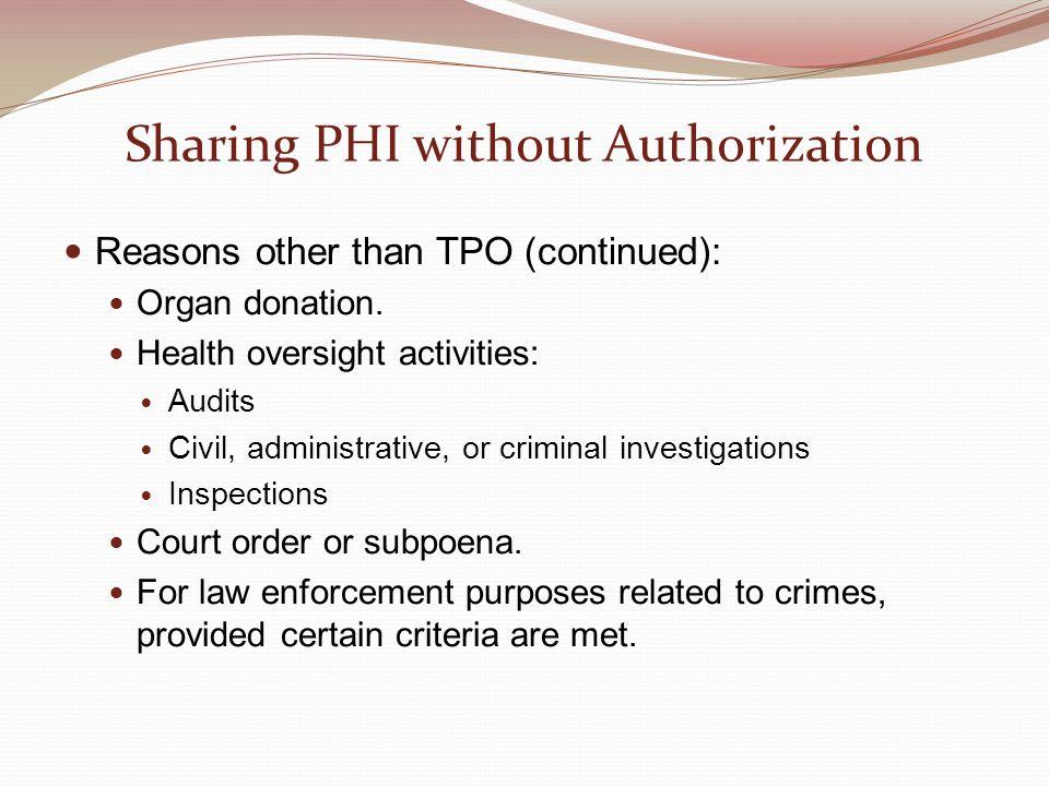 Sharing PHI without Authorization