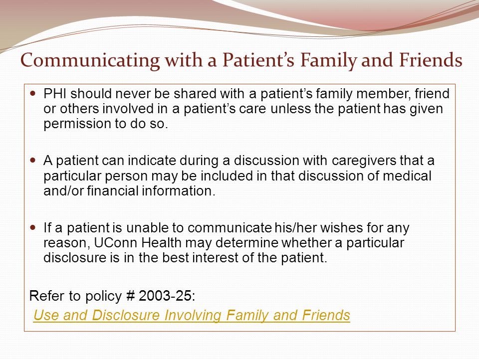 Communicating with a Patient's Family and Friends