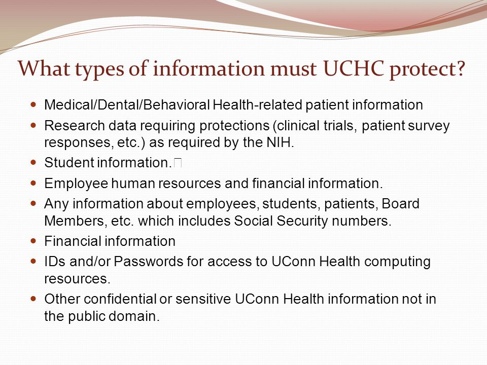 What types of information must UCHC protect