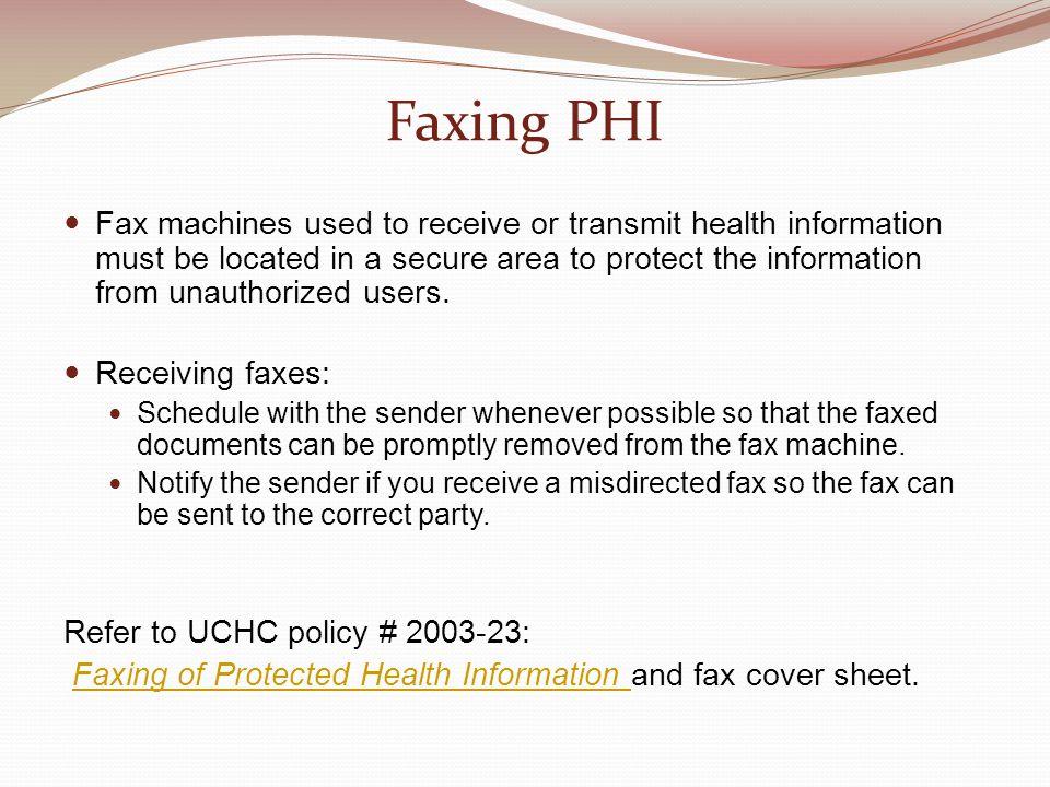 Faxing PHI