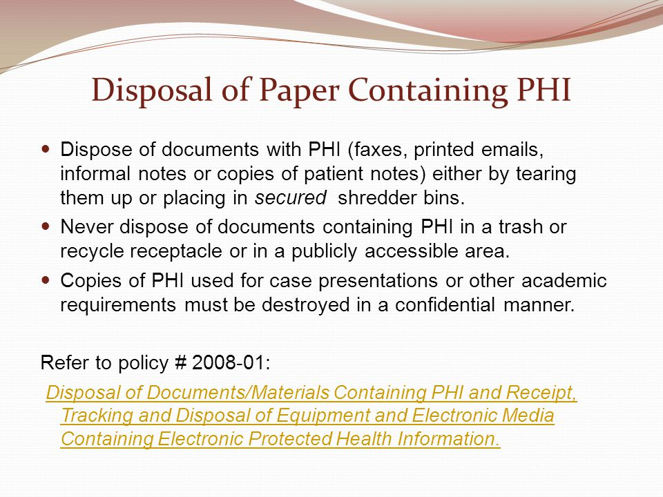 Disposal of Paper Containing PHI