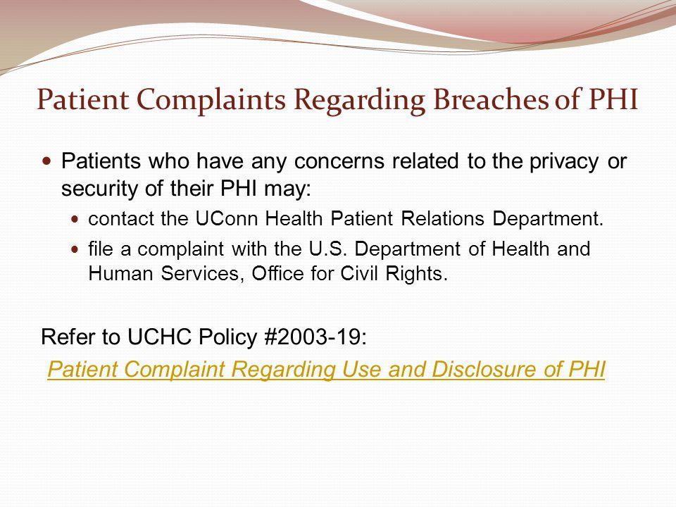 Patient Complaints Regarding Breaches of PHI