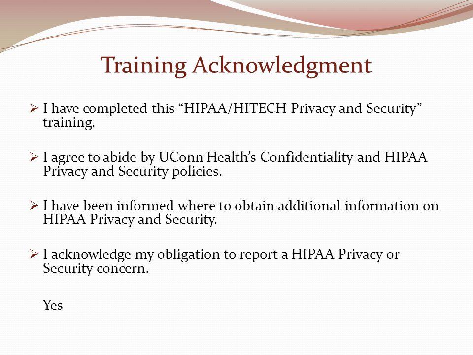 Training Acknowledgment