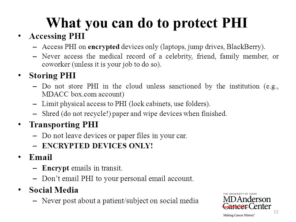 What you can do to protect PHI