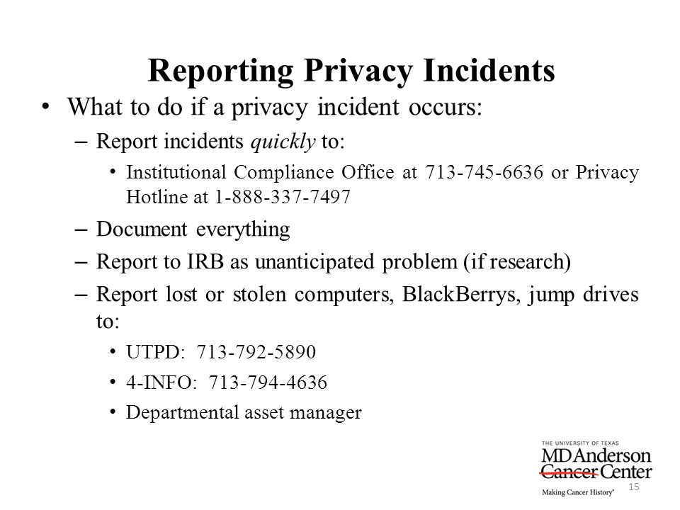 Reporting Privacy Incidents