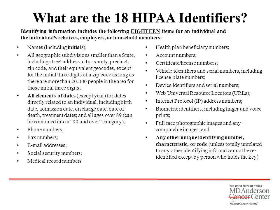 What are the 18 HIPAA Identifiers