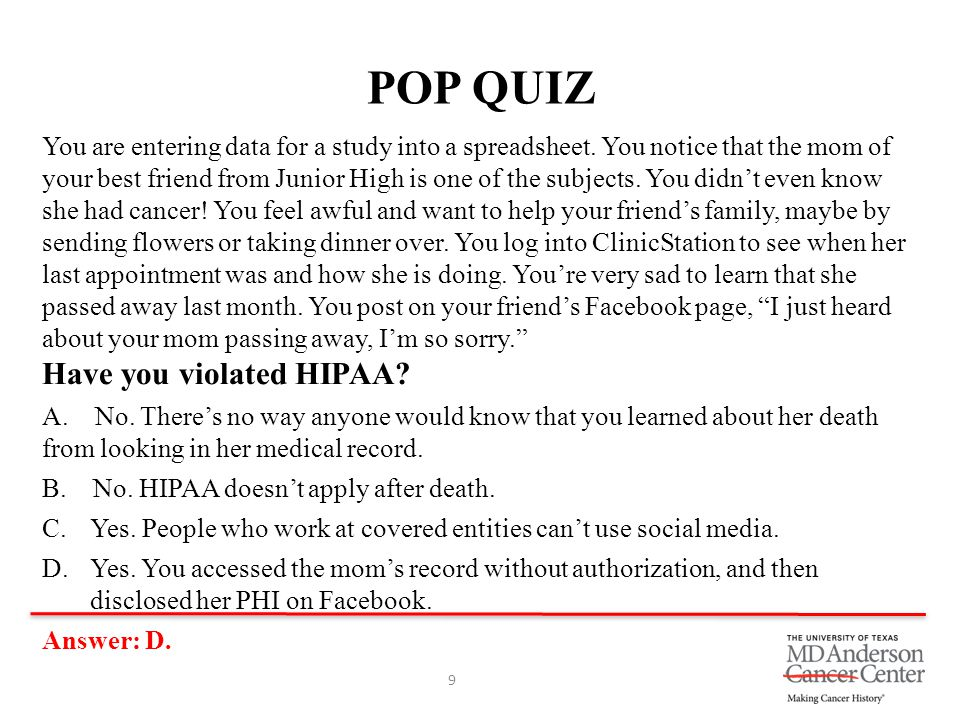 POP QUIZ Have you violated HIPAA