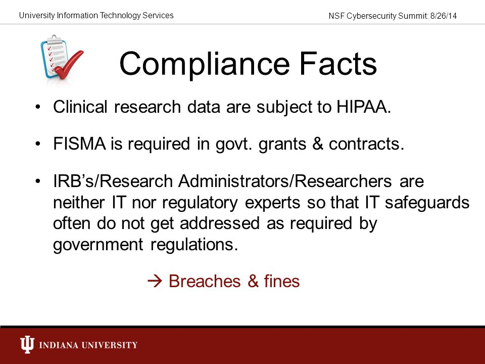 Compliance Facts Clinical research data are subject to HIPAA.