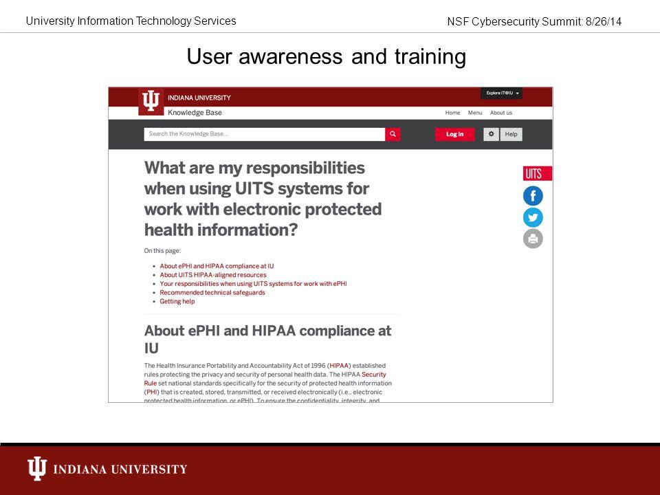 User awareness and training