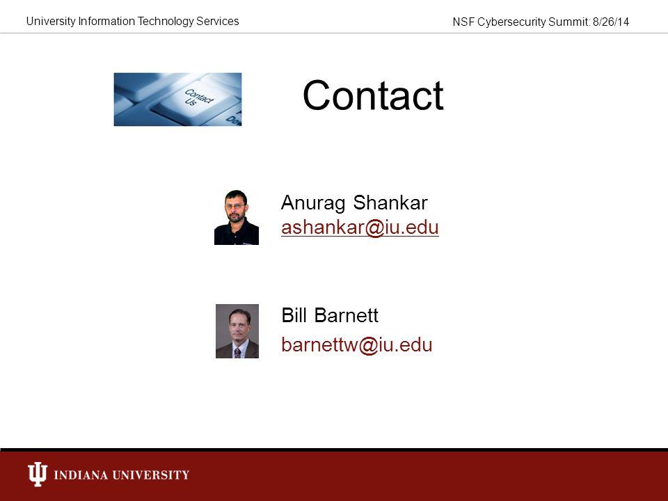 Contact Anurag Shankar ashankar@iu.edu Bill Barnett barnettw@iu.edu