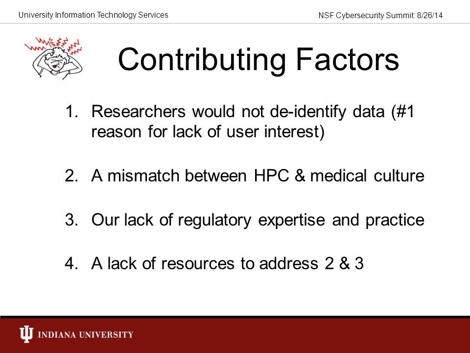 Contributing Factors Researchers would not de-identify data (#1 reason for lack of user interest) A mismatch between HPC & medical culture.