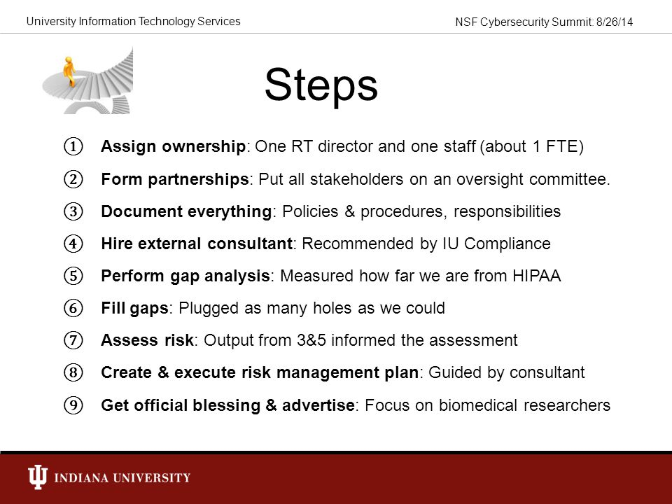 Steps Assign ownership: One RT director and one staff (about 1 FTE)
