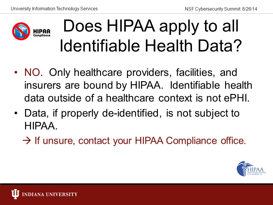 Does HIPAA apply to all Identifiable Health Data