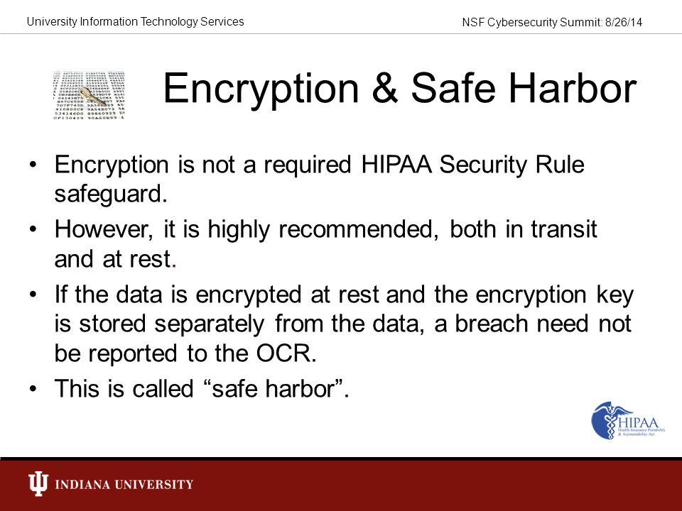 Encryption & Safe Harbor